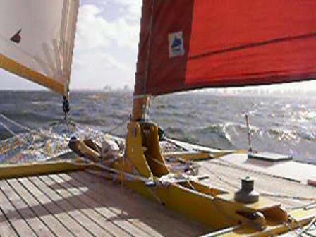 tiki 38 kaimiloa sailing fast near Punta del Este, Uruguay