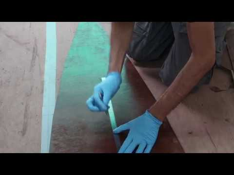 Removing sanding dust and fixing aft deck stringer - Wharram Hitia 14