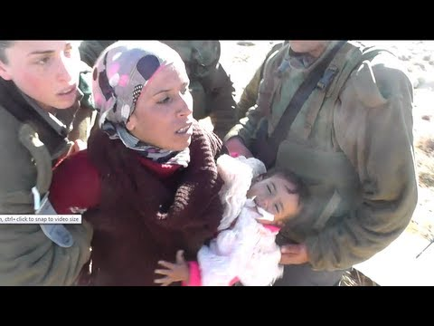 IOF arresting mother and her 18-month baby 19.1.2013 Umm Al Arayes, South Hebron hills