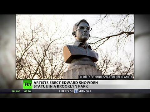 New York artists secretly erect Edward Snowden statue in Brooklyn - Traitorous Pigs Take It Down