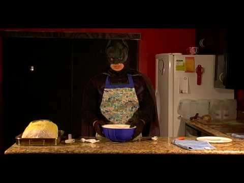 Batman cooks Thanksgiving dinner