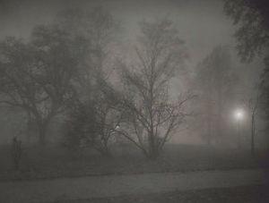 Letna Park in the night mist