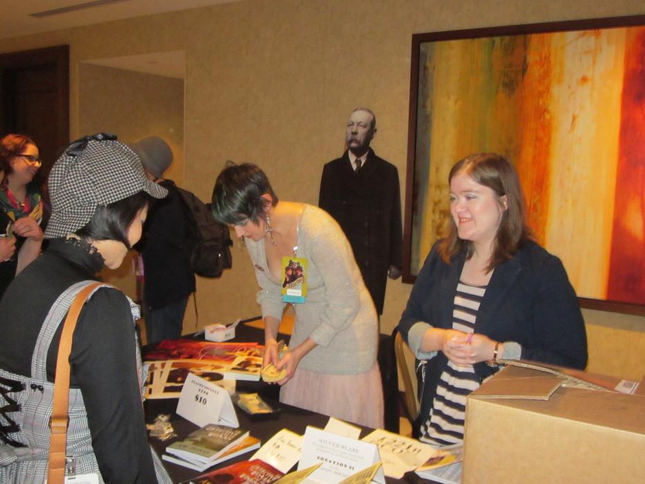 Lyndsay Faye and Amy Thomas at Work