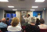 Pauline Rowson explaining how she writes her crime novels at Worthing Library June 2014