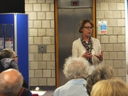 Pauline Rowson answering a question about her crime novels at Worthing Library June 2014