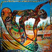 """#243 """"SnowBoarder 3"""" 36"""" x 36"""" Oil on canvas"""