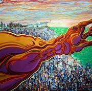 "#227 ""Razzmatazz"" 36"" x 36"" Oil on canvas"