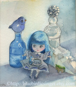 Blythe Blue Doll Painting
