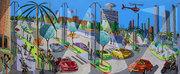 naive art paintings folk artworks painter raphael perez naif artist tel aviv israeli artists israel urban landscape artwork