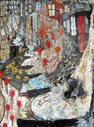 "Kasia Polkowska Match Girl, stained glass mosaic on board, 40"" x 30"", 2011 by Kasia Polkowska"