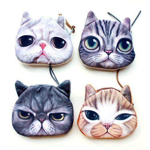 Four Crazy Cat Soft Coin Purse Collection