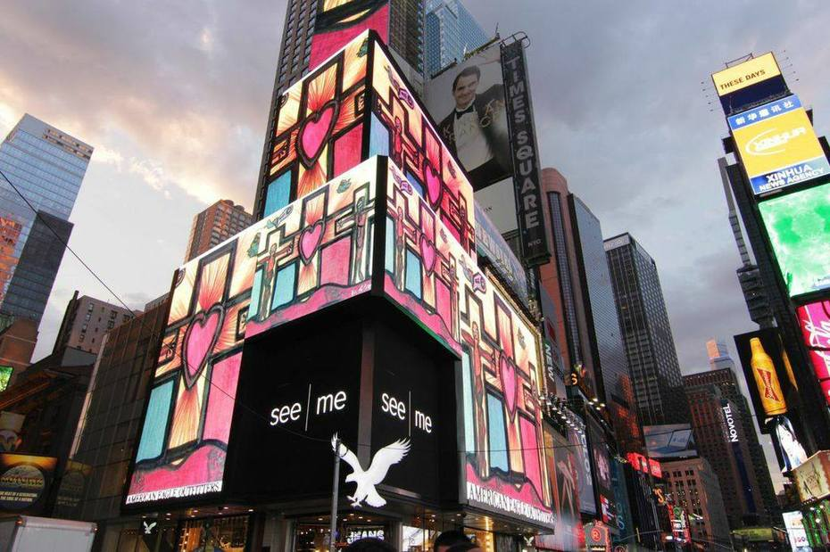 Artist Darrell Black work displayed in New York's Times Square July 2014