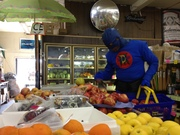 DangerMan Shops for Healthy Snacks for the Kids