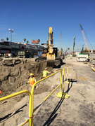 Crenshaw/LAX light rail excavation at Crenshaw Blvd. & Rodeo Place.