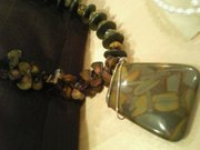 jasper, coral, tiger's eye and wood necklace..