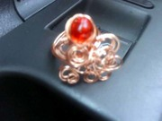 wire wrapped copper and czech glass ring...