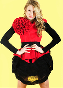 Red jacket and laced skirt