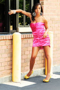 Pink Satin Ruched Dress