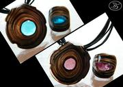 Vortice necklace and rings in Murano glass