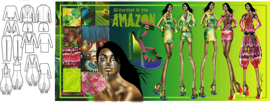 """Afternoon in the Amazon"" Second View- Fashion Design"