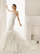 Lace and Organza Strapless Mermaid Style with Side Tiered Ruffle Skirt 2013 Wedding Dress