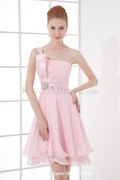 Chiffon Strapless Sheath Knee-length Cocktail Dress