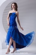 Organza Strapless A-line Ankle-Length Embroidered Prom Dress