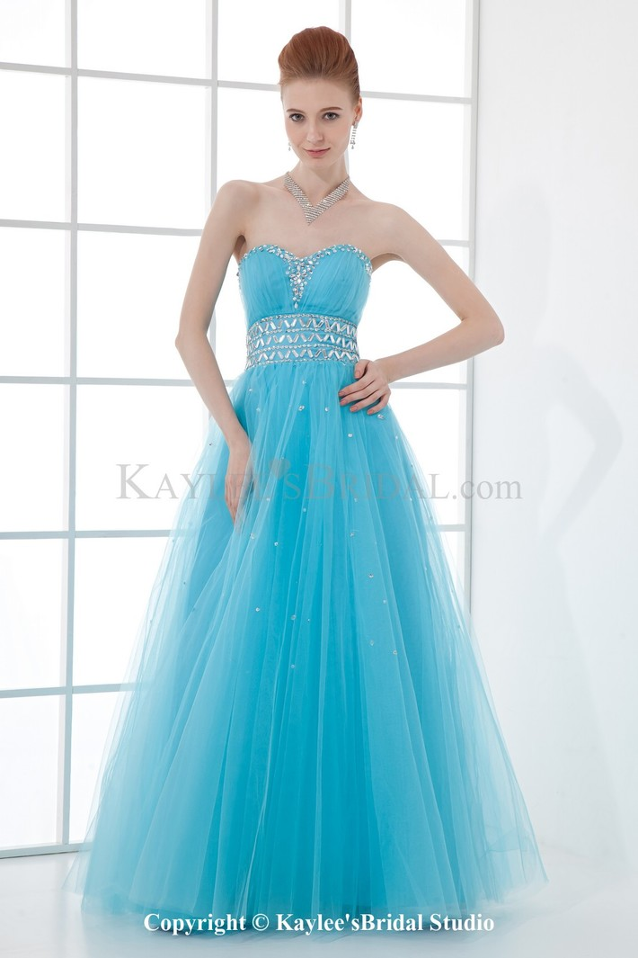 Net and Satin Sweetheart A-line Floor Length Sequins Prom Dress