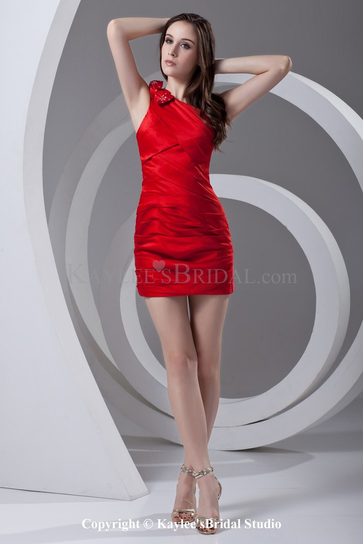Satin Asymmetrical Neckline Sheath Short Bow Cocktail Dress