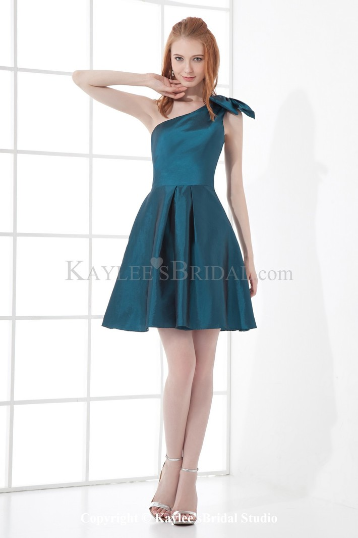 Taffeta Asymmetrical A-line Short Bow Cocktail Dress