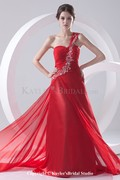 Chiffon One-shoulder A-line Sweep Train Embroidered Prom Dress