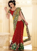 Magnificient Brick Red Embroidered Saree