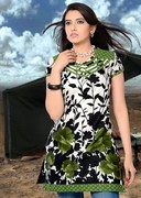 Amazing Cotton Kurti In Off White Green And Black Color