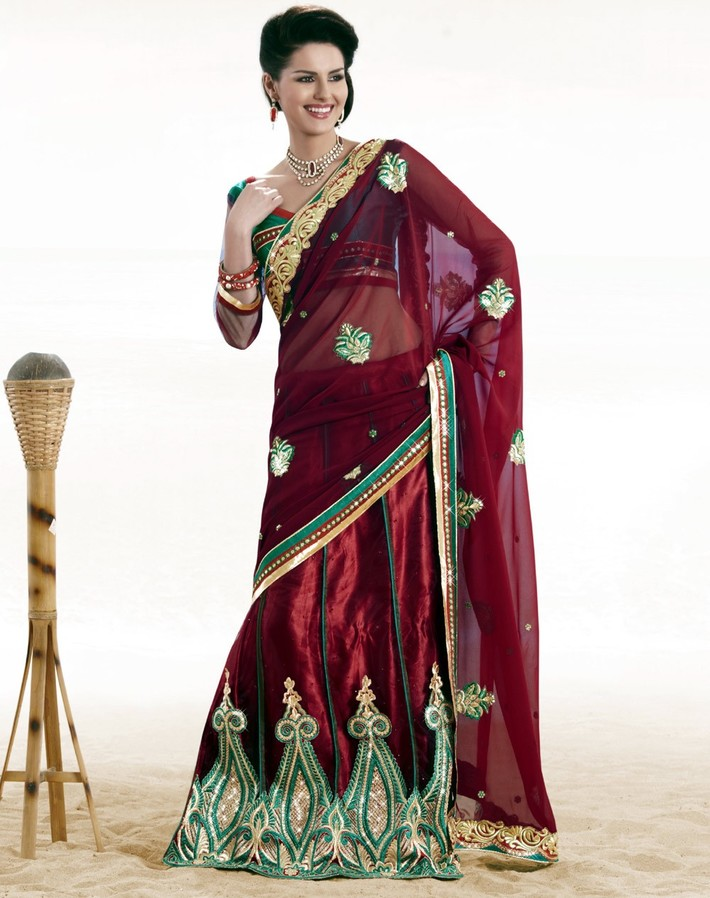 Alluring Burgundy Embroidered Saree