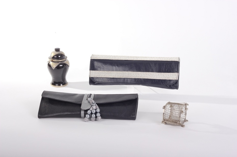 Nabeelah Bag marine blue and silver and Tahiya Bag black and grey, Collection Bags:  The One Thousand and One Night.