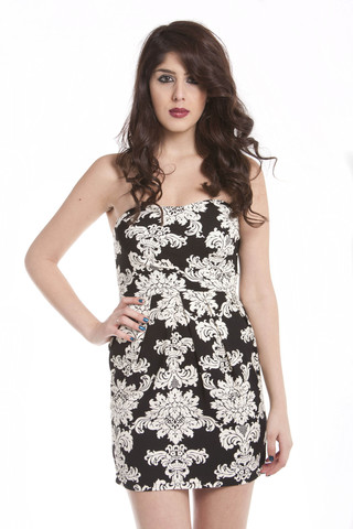 Strapless Floral Printed Dress