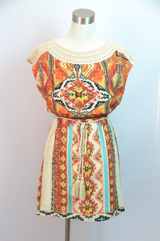 Tribal Print Crochet Neck Dress