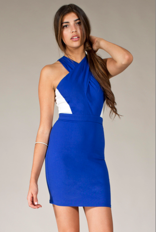 Front Wrap Halter Bodycon Dress