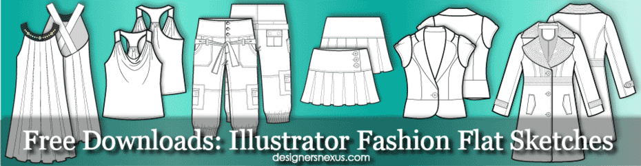 Free Illustrator Fashion Flat Sketches