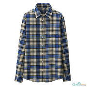 Blue-Yellow Plus Size Flannel Shirt