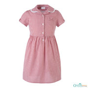 Soft Red Checked Kids Frock Supplier