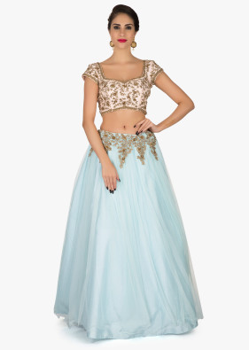 mint blue lehenga in net