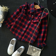 Red Plaid Flannel Shirt For Girls