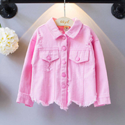 Pink Denim Shirt For Girls