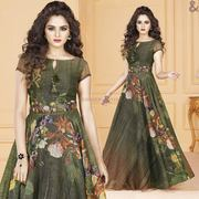 Daze Green Floral Maxi Type Latkan Worked Aline Gown For Mehendi