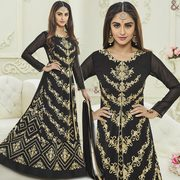 Black Contrast Embroidery Worked Georgette Dress Worn By Film Star