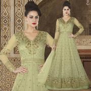 Inevitable Double Layered Light Green Sequins Worked Anarkali Set