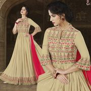 Intimidating Beige Lace Embroidered Flared Anarkali Set In Satin
