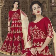 Impressive Red N Beige Beads Worked Flare Anarkali For Engagement