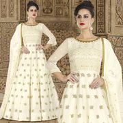Incredible Off White Georgette Thread N Sequin Worked Anarkali Set
